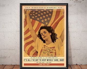 Lana Del Rey Poster - Quote Retro Music Poster - Music Print, Wall Art