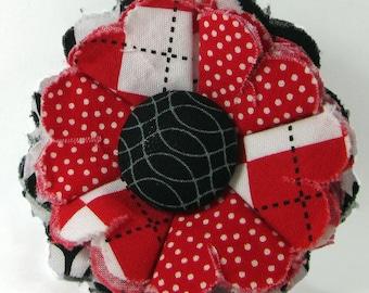 Fabric Flower Pin, Fabric Flower Brooch, raw edge flower, red, black, white - FP11