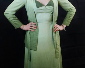 """1960's does the 1930's Green Ombre Dress and Jacket 26""""W"""