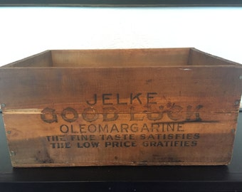 Vintage Jelke Good Luck Margarine Wooden Crate Box Storage Centerpiece Wood Rustic