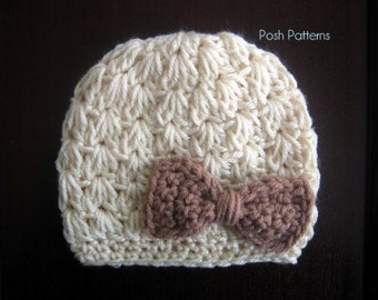 Crochet PATTERN - Crochet Bow Hat Pattern - Crochet Pattern Hat - Crochet Pattern Baby - Baby, Toddler, Child, Kids, Adult Sizes - PDF 310