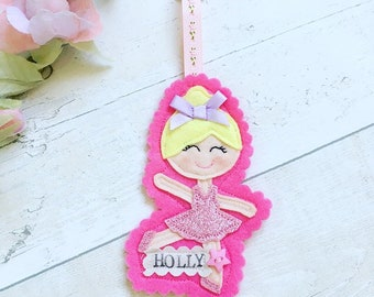 Ballerina Bag Tag, School Bag Tag, ID Tag, Kids Bag Tag,