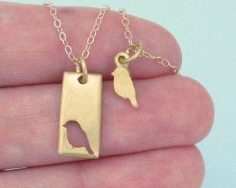 Gold Bird Necklace Set -Little Bird Mother Daughter Necklace Set  -  Mom and Daughter Jewelry - Mother's Day Gift