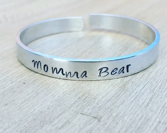 Momma Bear Hand Stamped Cuff Bracelet, mama bear cuff bracelet, momma bear jewelry, mama bear jewelry