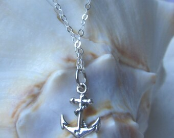 Hope - All Sterling Silver Anchor on Delicate Sterling Chain, Simple, Minimalistic on Sterling Necklace, Symbolic, Perfect for Layering
