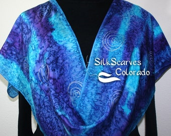 Blue Purple Hand Painted Silk Scarf. Handmade Silk Shawl SUNSET SURF. in 2 SIZES. Silk Scarves Colorado. Birthday Gift, Christmas Gift