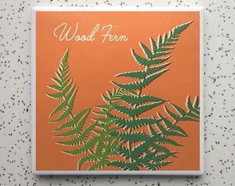 Wood Fern Houseplant Tile Coaster