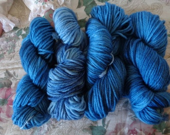 Hand Painted SW Bulky Wt. Yarn in Stonewashed Blue
