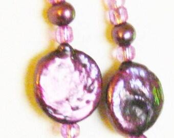 Wedding Earrings Bridal Jewelry Fresh Water Pearl Earrings Coin Shape Luminous Burgundy Purple Handcrafted Beadwork Wedding Bridesmaid Gift
