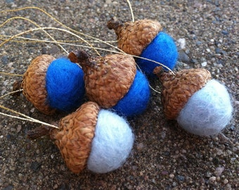 Winter Solstice Blue Felted Acorn Ornaments -Set of 5 - Natural Woodland Holiday Season Eco Friendly Decor