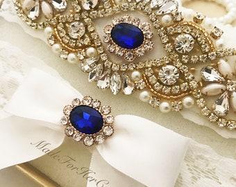 Gold & Blue Wedding Garter, Bridal Garter Set, Gold Garter Set, Crystal Pearl Garter, Wedding Garter Set Wedding Garter Belt- Something Blue