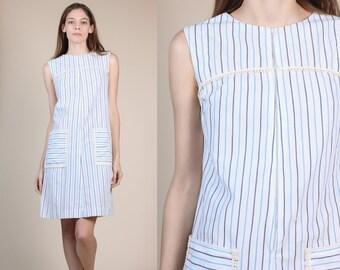 60s Striped Pocket Dress - Petite Small // Vintage Shift Mini Housedress Zip Up
