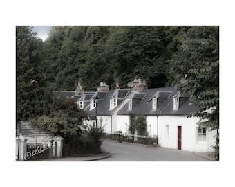 Cottage Bend Fine Art Photography Scotland Landscape historic village Rosemarkie quaint stone tiny houses feminine home decor whitewashed