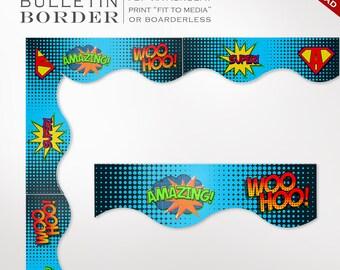Super Hero Classroom Bulletin Board Trim - Printable Super Hero Border Instant Download - Teacher Tools Homeschool Chores Bulletin Board
