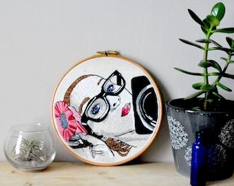 Embroidery hoop selfie portrait art, Hoop art, Portrait art, Pop art, Advertising art, Home decor, Wall art, Handmade, Unique art