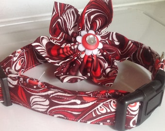 Red & White Cherry  Flower Collar for Female Dogs and Cats