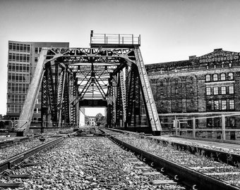 Milwaukee Photography - Milwaukee Cold Storage and Railroad Tracks Black & White Photograph - Milwaukee, Wisconsin 8x10 photo