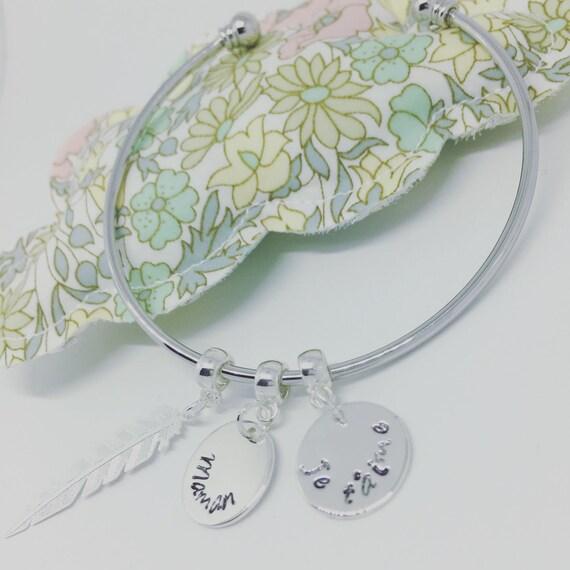 Jewelry Bracelet custom Creation - Boho Chic 2 custom ENGRAVINGS customizable silver Bangle Bracelet