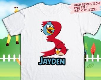 Angry Birds Iron On Transfer. Angry Birds Birthday Shirt DIY. Angry Birds Printable Decal Design. Boy Birthday Shirt DIY. Digital Files.