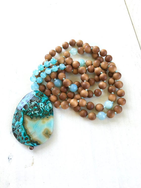 Ocean Jasper Mala Beads, Sandalwood Mantra Mala, Healing Mala Beads, Knotted Mala Beads 108, Yoga Meditation Beads, Mantra Meditation Beads