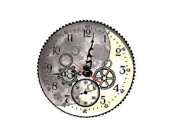 2 cabochons 20 mm glass clock Moon Steampunk 3 - 20 mm