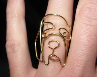 Wire Wrapped Saint Bernard or Any Dog Head MADE to ORDER Ring