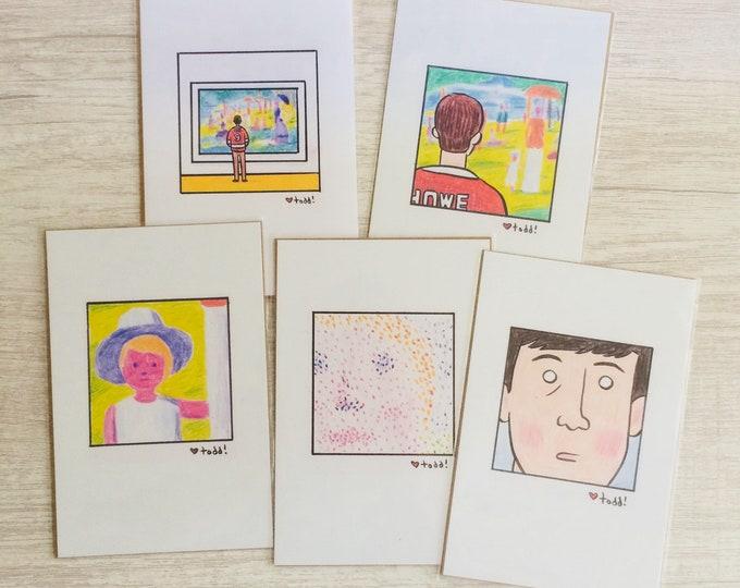 Ferris Bueller's Day Off Cameron Frye Print Set, 4 x 6 inches, Art, Movies, Illustration, Wall Decor, Seurat, Alan Ruck