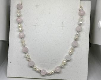 Reiki-infused Rose Quartz/Pearl necklace