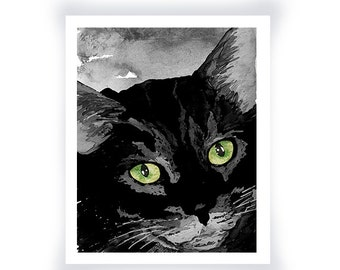 Black Kitty Print from an Original Watercolor