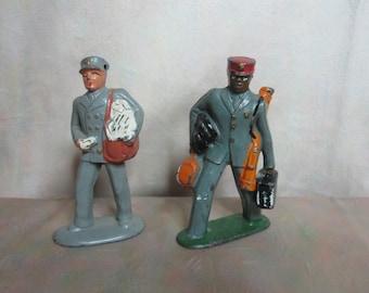 Vintage Toy Cast Metal Porter and Mailman Figures