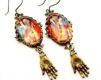 Gypsy Earrings, Palmreader Earrings, Boho Earrings, Midway, Gypsy Jewelry, Fortune Teller, Palmreader, unusual gift, urban gypsy, orange
