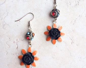 Vintage Orange Flower Earrings, Black Flower Crystal Earrings, Boho Southwestern Crystal Earrings
