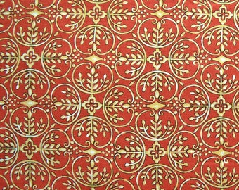 STORE CLOSING SALE - Chrysanthemum, Maywood Studio, 100% Cotton Quilt Fabric, Quilting Fabric, Orange, Damask
