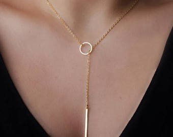 "Gold Lariat Necklace - 23.6"" Long"