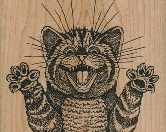 Rubber stamp Halloween Screaming Cat  unMounted  scrapbooking supplies number 12305