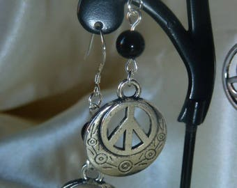 PEACE and genuine Obsidian gemstones earrings