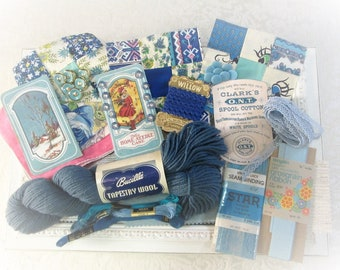 Vintage Inspiration Kit Blue Sewing Supplies Haberdashery Lot Embellishment Kit Altered Art Scrapbooking Fabric Collage Crafts