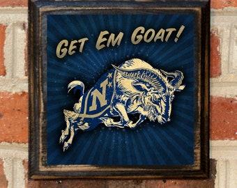 US Navy Get Em Goat! Logo Wall Art Sign Plaque Gift Present Home Decor Vintage Style USNA Sailor Naval Academy Midshipmen Antique