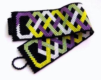 SALE / Wide Peyote Bracelet   / Seed bead Bracelet in Yellow, Lilac, Lime, Green ,White and Black / Beaded Bracelet / Beadwork Bracelet