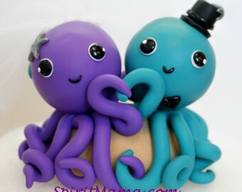 CUSTOM Octopus Wedding Cake Topper