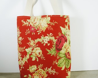 Tote Bag with pretty flowers red, pink, salmon, yellow. Canvas bag.