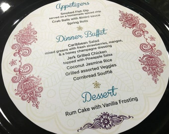 Round Menu, Circle Menu, Any Size ROUND MENU, Charger Menu, Hindu Design Pictured • for weddings, bridal events, and dinner parties