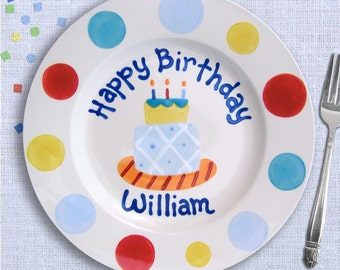 Kids Birthday Party - Birthday Boy - Custom Birthday Plate - Cake Plate - Hand Painted Ceramic Personalized - Birthday Baby's First Birthday