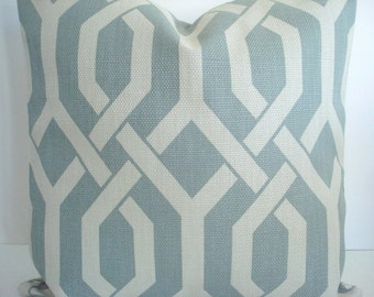 Light Teal Gemetric Gatework Basketweave Pillow Cover - Decorative Designer Pillow Cover - Throw and Lumbar Sizes