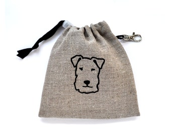 Terrier Dog Treat Pouch - Check Linen, Red Dotty, Natural Linen, Red Gingham