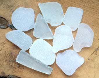 Bulk Sea Glass, Large Sea Glass, Tumbled Glass, Genuine Sea Glass, White Sea Glass.