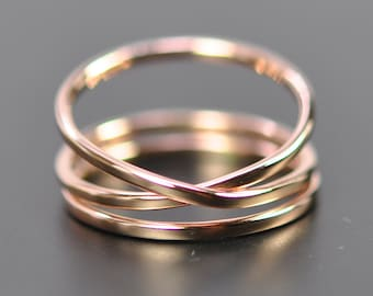 Rose Gold Infinity Plus One 14K Gold Ring Set, Stacking Rings, Love Gift for Her, Sea Babe Jewelry