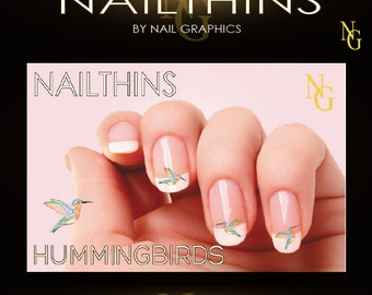 HUMMINGBIRD Nail Decal Colorful Hummers nail art NAILTHINS Nail Design