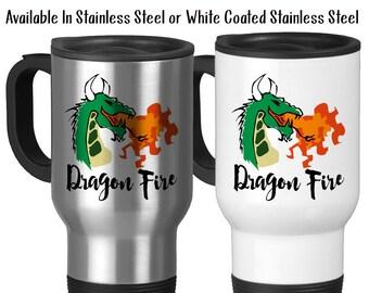 Travel Mug, Dragon Art Dragon Fire Dragon Design Fire Breathing Dragon Dragon Coffee Dragon Gift, Stainless Steel, 14 oz - Gift Idea