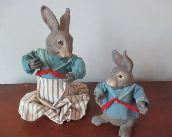 Seashore Bunnies Vintage Papier Mache Rabbits by Edith Jackson